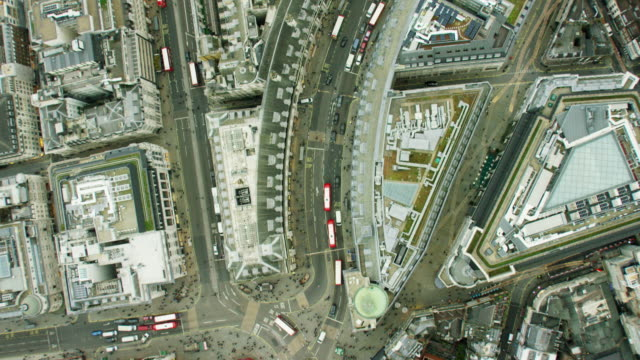 aerial view of buildings in english capital city - piccadilly circus stock videos and b-roll footage