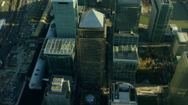 aerial view of buildings in london city - high street stock videos & royalty-free footage