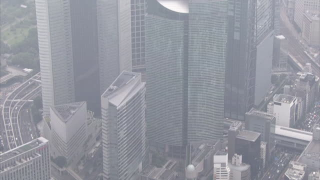 Aerial view of buildings in Shiodome in Tokyo.