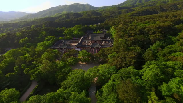 aerial view of bulguksa temple (unesco world heritage site) - gyeongju stock videos and b-roll footage