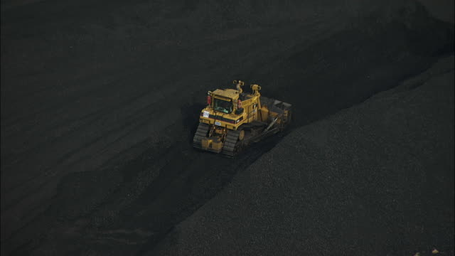 Aerial view of Bulldozer in Coal Mine
