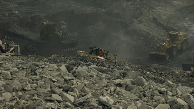 Aerial view of bulldozers and front loaders at mountaintop mine