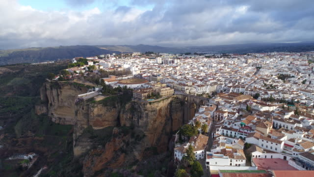 aerial view of bullfight plaza and puente nuevo bridge, ronda in spain - puente stock videos & royalty-free footage