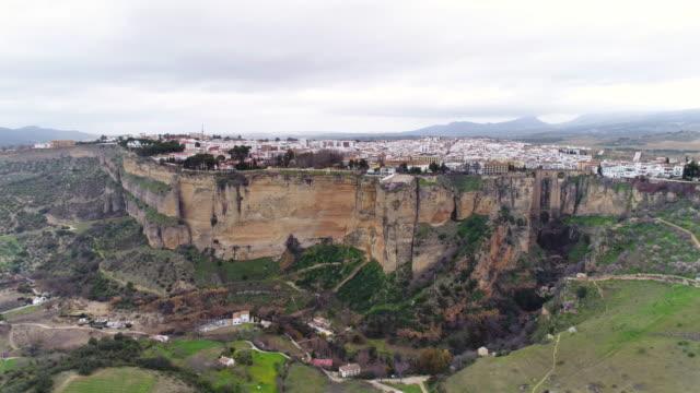 Aerial view of bullfight plaza and Puente Nuevo Bridge, Ronda in Spain