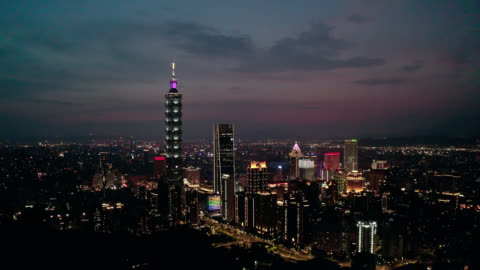 aerial view of business district in city of taipei, taiwan at night - taipei stock videos & royalty-free footage