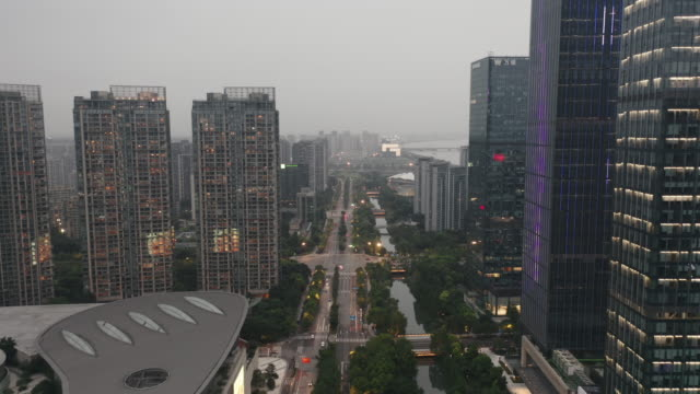aerial view of business district - liyao xie stock videos & royalty-free footage