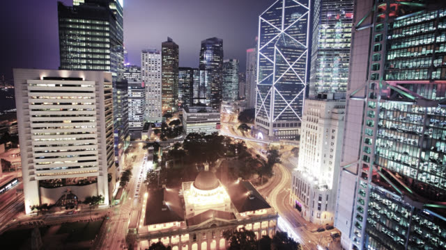 aerial view of business downtown. hong kong - central district hong kong stock videos & royalty-free footage
