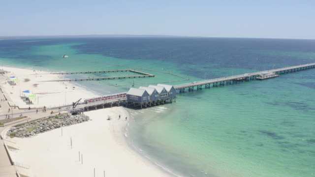 aerial view of busselton jetty the second wooden longest jetty in the world at busselton, western australia, australia. - jetty stock videos & royalty-free footage