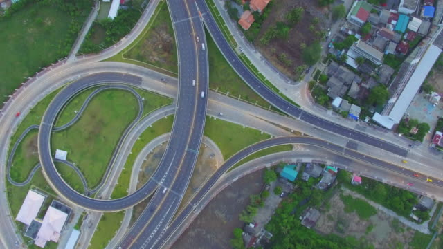 Aerial View of busy freeway intersection, Bangkok Thailand