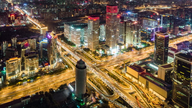 T/L MS HA PAN Aerial View of Busy Overpass in Beijing at Night