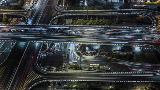 aerial view of busy road intersection