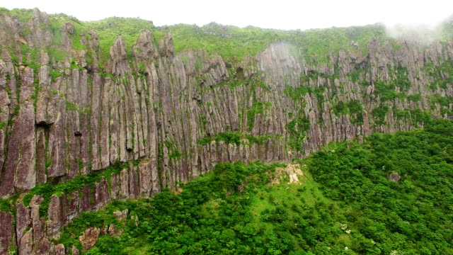Aerial view of Byeongpung Rock in Mt Hallasan National Park (UNESCO World Heritage and famous travel destination)