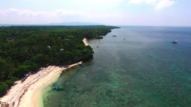 aerial view of cabilao island, the philippines - philippines stock videos & royalty-free footage
