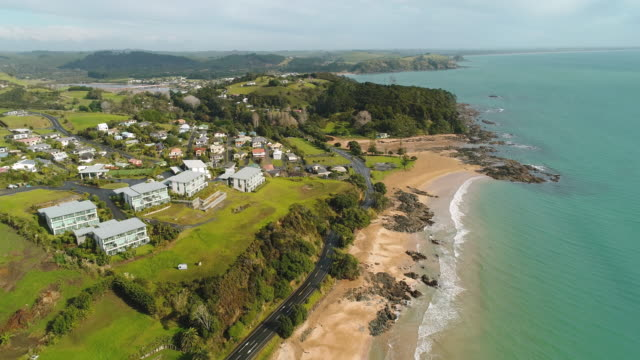 aerial view of cable bay. - bay of islands new zealand stock videos & royalty-free footage