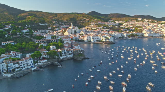 aerial view of cadaques - spain stock videos & royalty-free footage