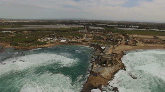 aerial view of caesarea archaeological site - and it's coastline - caesarea stock videos & royalty-free footage