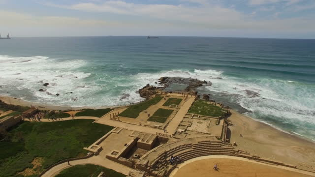 aerial view of caesarea archaeological site -the hippodrome - caesarea stock videos & royalty-free footage