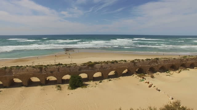 aerial view of caesarea archaeological site - the roman aqueduct ,israel - arch stock videos & royalty-free footage