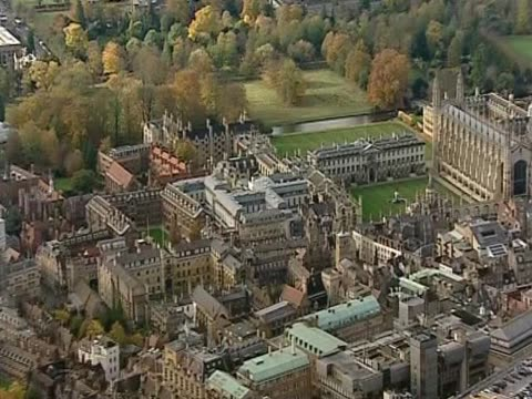 aerial view of cambridge university king's college and its surroundings - king's college cambridge stock videos & royalty-free footage