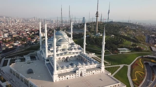 stockvideo's en b-roll-footage met aerial view of camlica mosque in istanbul - international landmark