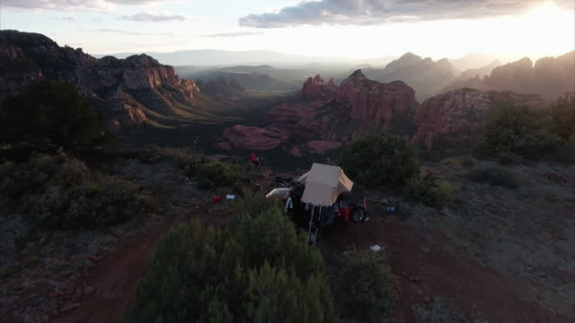 aerial view of campsite in sedona arizona - sedona stock videos & royalty-free footage