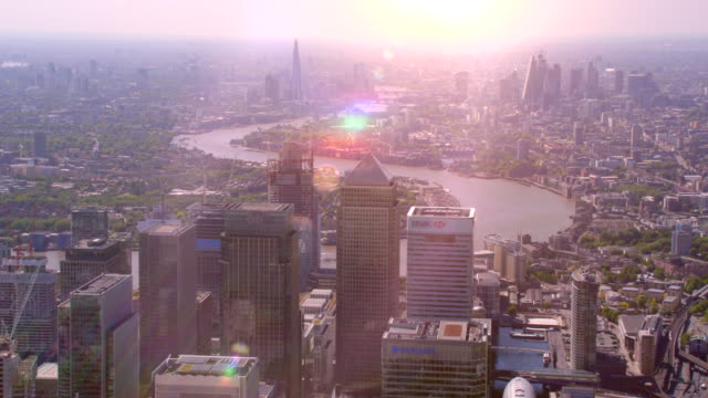 aerial view of canary wharf and central london, uk. 4k - london england stock videos and b-roll footage