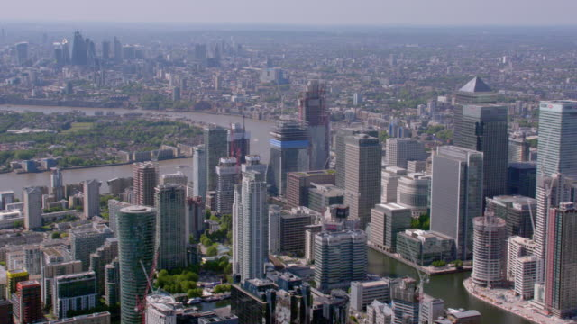 Aerial View of Canary Wharf and Central London, UK. 4K