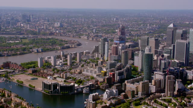 Aerial View of Canary Wharf and East London, UK. 4K