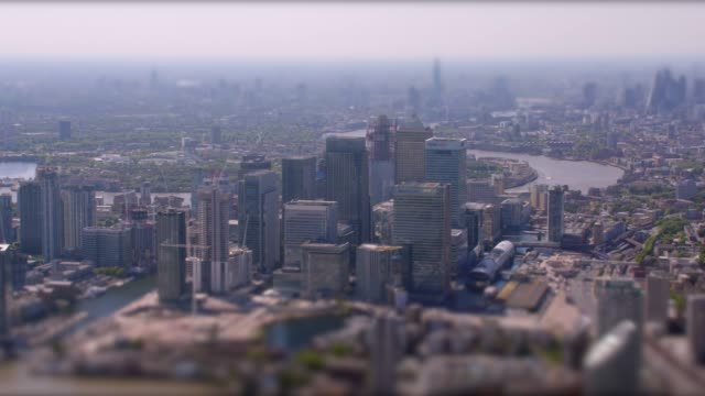 aerial view of canary wharf, london, uk. 4k - small stock videos and b-roll footage