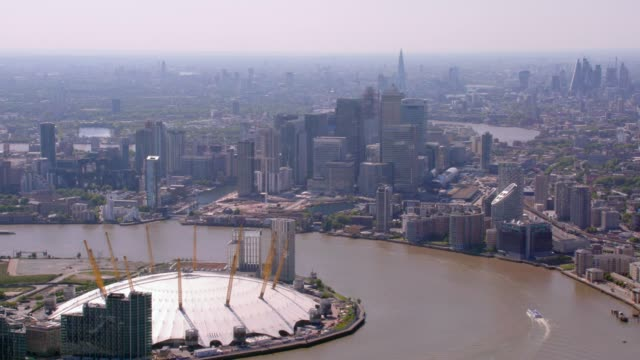 aerial view of canary wharf, london, uk. 4k - dome stock videos & royalty-free footage