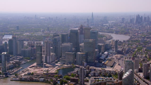 Aerial View of Canary Wharf, London, UK. 4K
