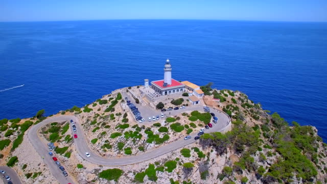 aerial view of cap de formentor - lighthouse and the famous cliffs of balearic islands majorca / spain - balearic islands stock videos and b-roll footage