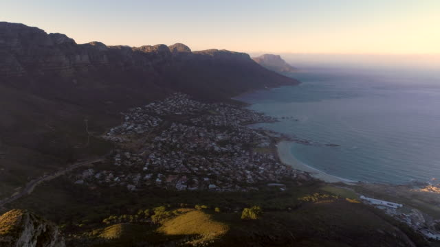 Aerial view of Cape Town coastline and mountains