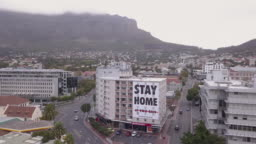 Aerial view of Cape Town, empty streets during Corona Virus lockdown