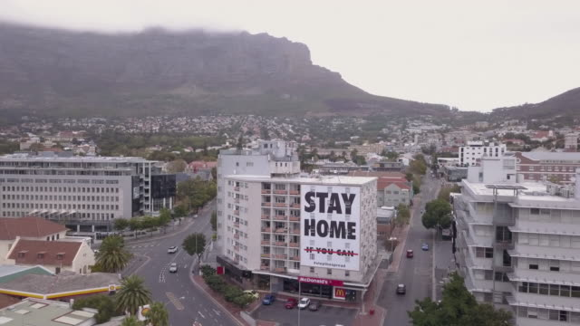 aerial view of cape town, empty streets during corona virus lockdown - lockdown stock videos & royalty-free footage