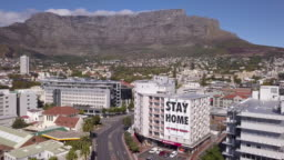Aerial view of Cape Town, South Africa during Coronavirus lockdown
