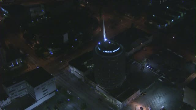 KTLA Aerial View of Capitol Records at Night