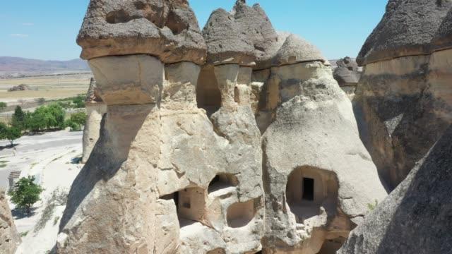aerial view of cappadocia, turkey - rock hoodoo stock videos & royalty-free footage