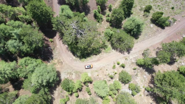 aerial view of car over mountain road going through tropical rainforest - sports utility vehicle stock videos & royalty-free footage