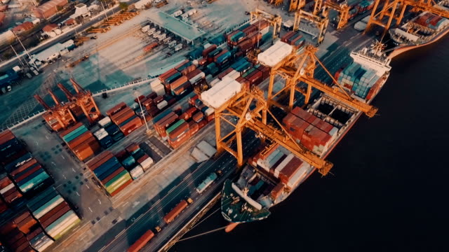 Aerial view of cargo container and crane at Harbor