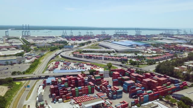 aerial view of cargo container industrial - penang bridge stock videos and b-roll footage