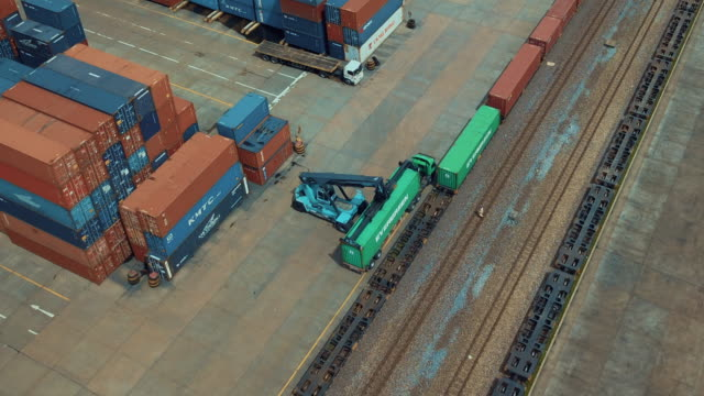 Aerial view of cargo containers in railroad yard,Hyper lapse