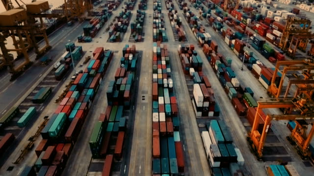 Aerial View of cargo containers on dock