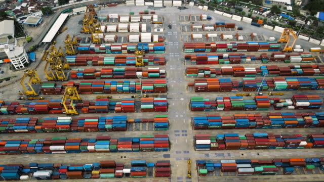 aerial view of cargo containers port - film container stock videos & royalty-free footage