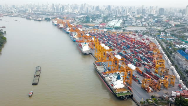 Aerial view of cargo containers port