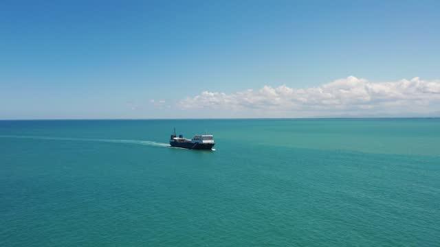 国際コンテナ港に接近する貨物船の空中写真。4k解像度。 - 大きい点の映像素材/bロール