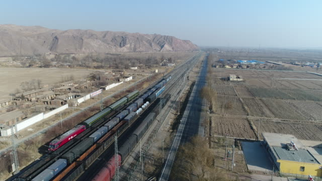 aerial view of cargo train in china - shunting yard stock videos and b-roll footage