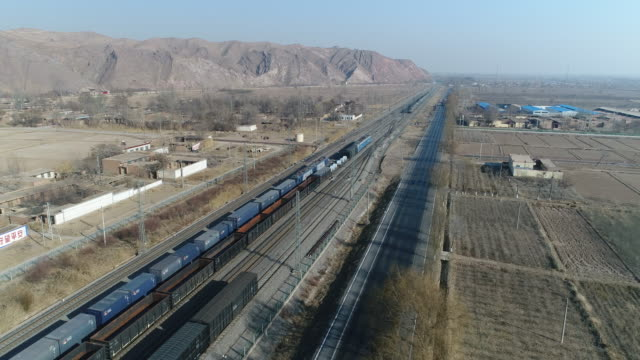 Aerial View of Cargo Train in China