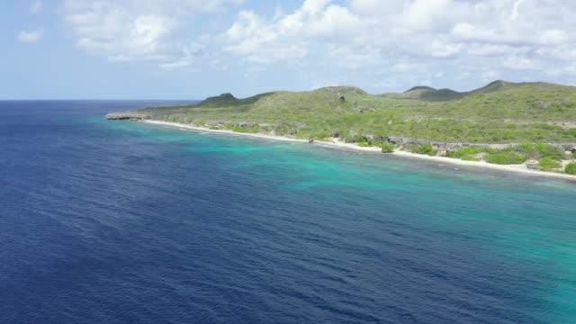 Luftaufnahme des karibischen Meeres und Küstenabschnitt in Curacao