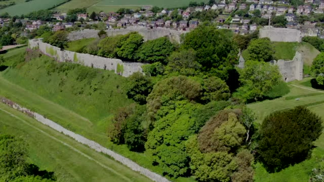 aerial view of carisbrooke castle - isle of wight stock videos & royalty-free footage